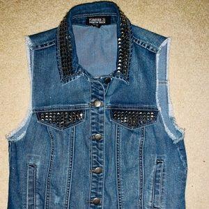 Forever 21 Sleeveless Studded Jean Vest